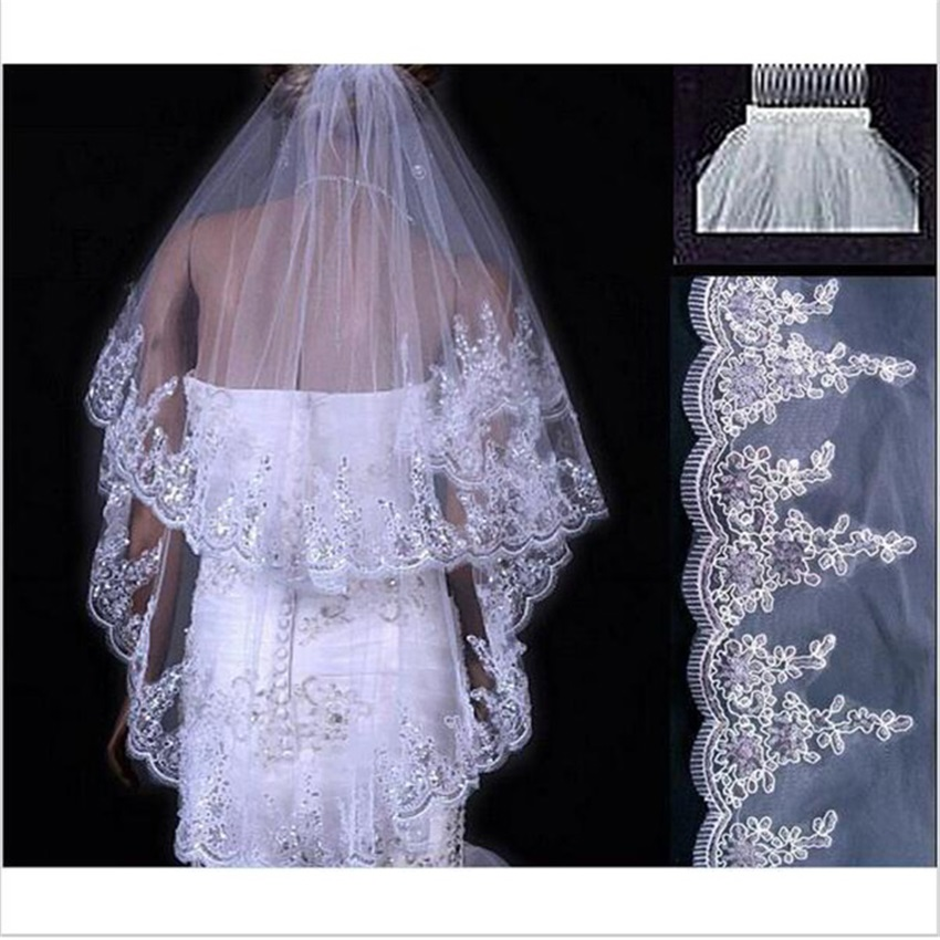 Real Photo White Ivory Women Bridal Veils 2020 Wedding Veils 2 Layers Handmade Beaded Lace Edge With Comb Wedding Accessories