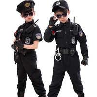 Bambini di Halloween Costumi Poliziotto Bambini Festa di Carnevale Uniforme Della Polizia di 110-160cm Ragazzi Army Poliziotti Cosplay Set Abbigliamento
