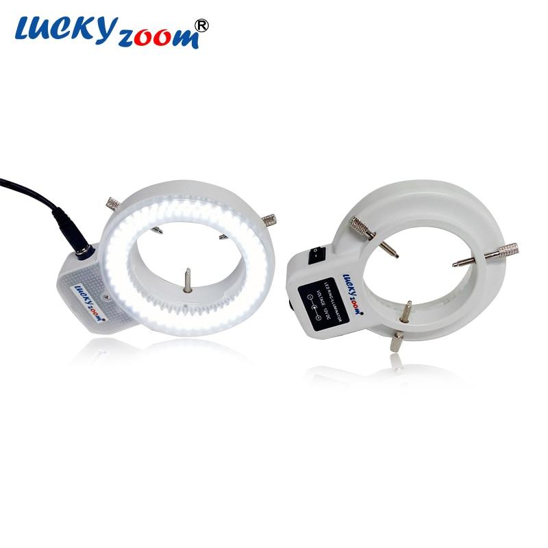 Lampada illuminante ad anello regolabile 6500K 144 LED per industria Lente stereo per microscopio Adattatore multifunzione 110V-240V