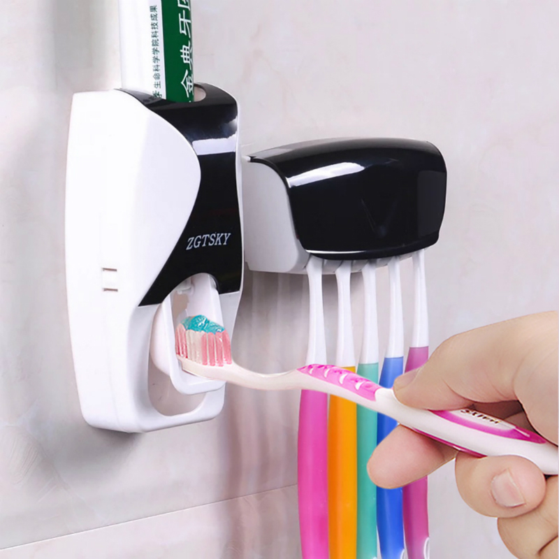 Automatic Toothpaste Dispenser Wall Mount Dust-proof Toothbrush Holder Wall Mount Storage Rack Bathroom Accessories Set Squeezer 1