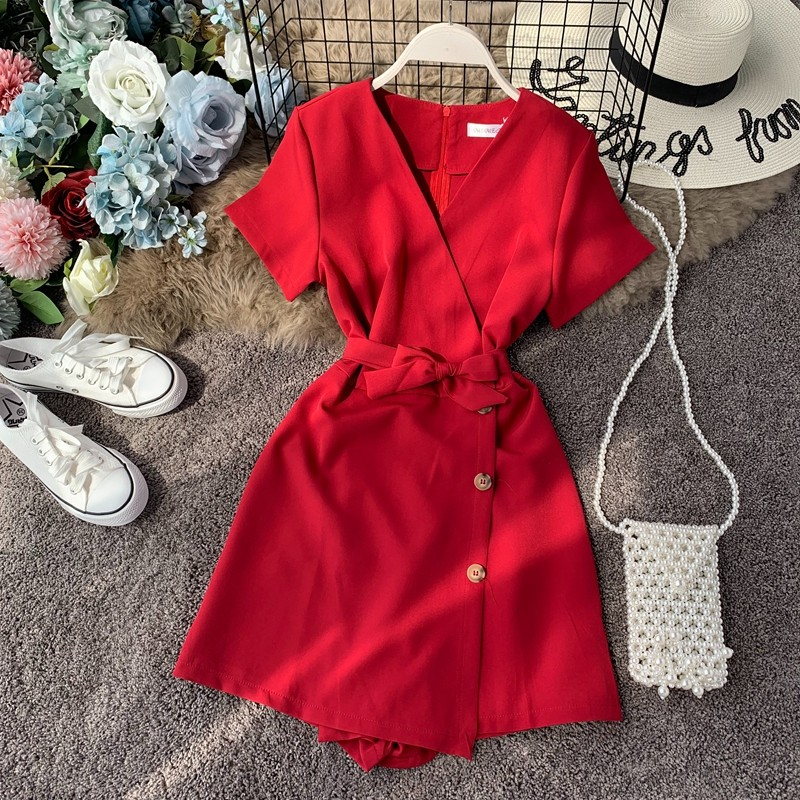 NiceMix 2020 Summer Bodysuit Women Romper Short Sleeves Red Jumpsuit Sexy V-Neck Wide Pants Single Breasted Solid Beach Style