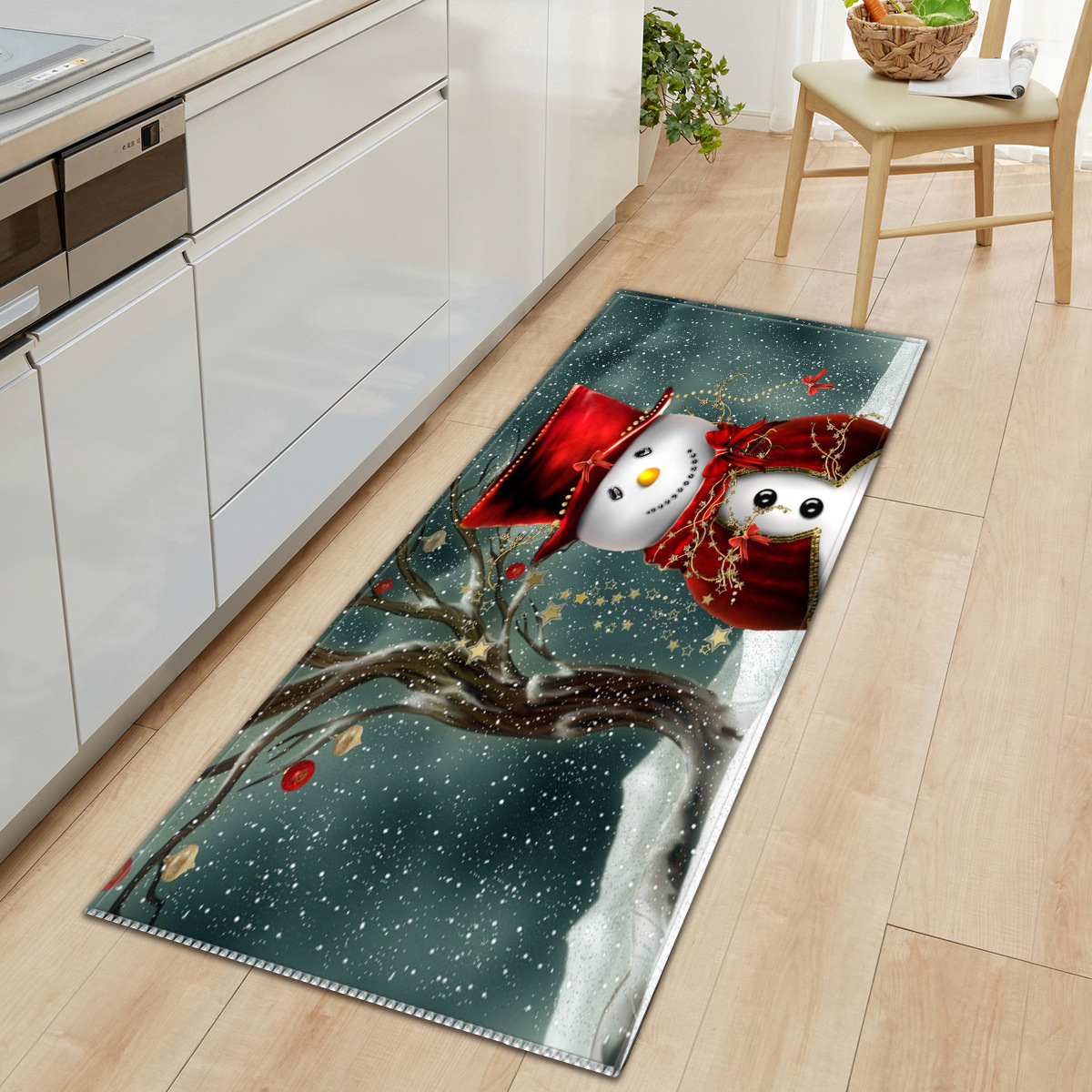 Christmas Long Kitchen Carpet Entrance Doormat Welcome Carpet Hallway Cartoon Bedside Floor Rug Non-slip Foot Rug Bedside Carpet