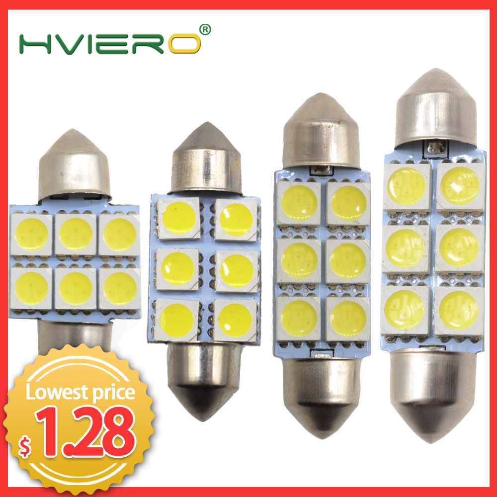 2X White Led 31mm 36mm 39mm C5w C10w 5050 6 Smd DC 12v Interior Festoon Dome  Light Luggage Lamp Reading Bulb Door Light