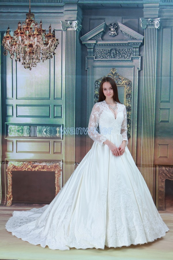 Free Shipping 2016 New Design Hot Muslim Train Ball Gown Long Sleeve Lace Jacket Custom Size/color Bridal Dress Wedding Dress