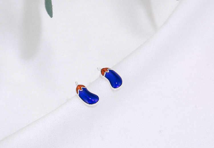 Heißer Verkauf Lila Auberginen Harz 925 Sterling Silber Dame Stud Ohrringe Förderung Schmuck Für Frauen Drop Verschiffen Günstige Geschenk