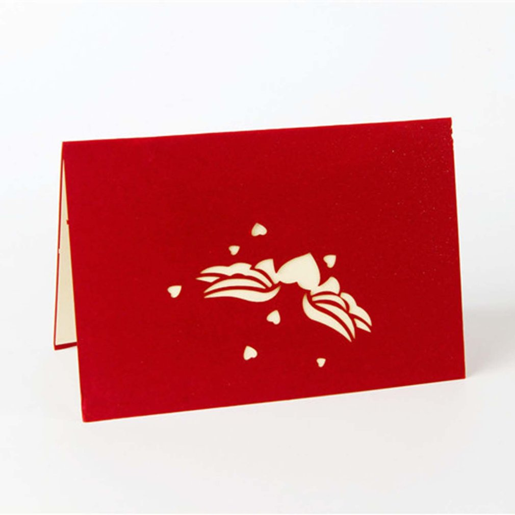 3D Pop Up Greeting Postcards Birthday Gift Cards Red Heart Festival Card Vintage Invitation Marriage Love Letters Messages