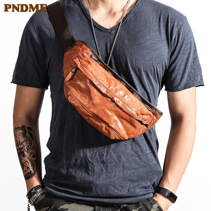 PNDME Personality Trend High Quality Genuine Leather Men's Chest Bag  Vintage Soft Cowhide Luxury Teens Waist Pack Messenger Bag