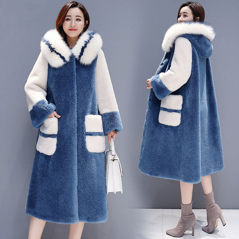 High Quality Long Warm Latest Winter Female Sheepskin Coats Pure Color Fox Collars Faux Furs Big Yards Cashmere Coat  D191014