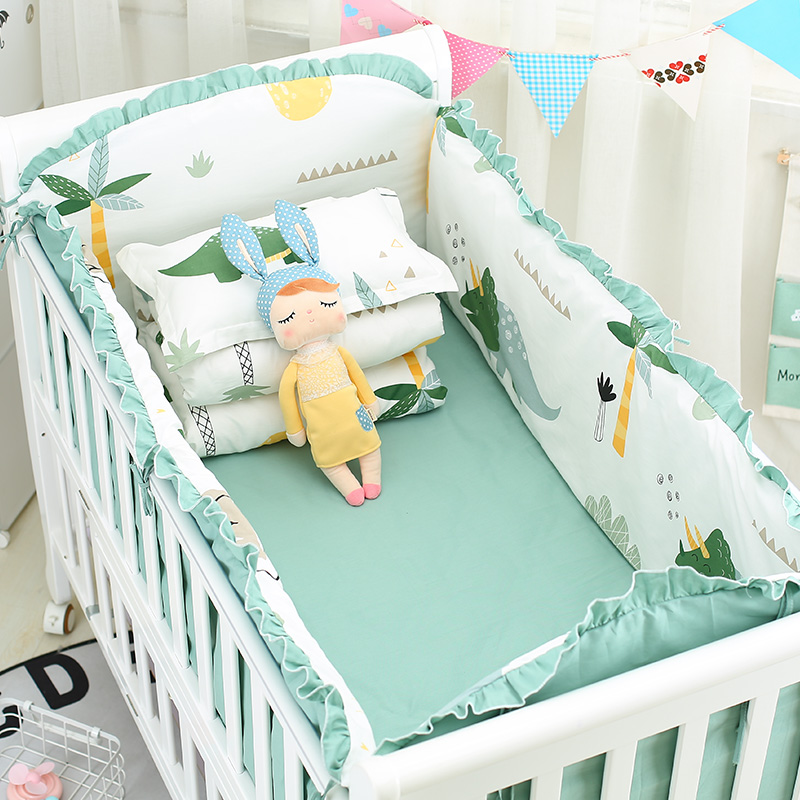 Cartoon Green Dinosaur 5pcs Baby Crib Bedding Set Cotton Baby Crib Bed Linen Kit Include Cot Bumpers Bed Sheet 7 Sizes 9 Colors image