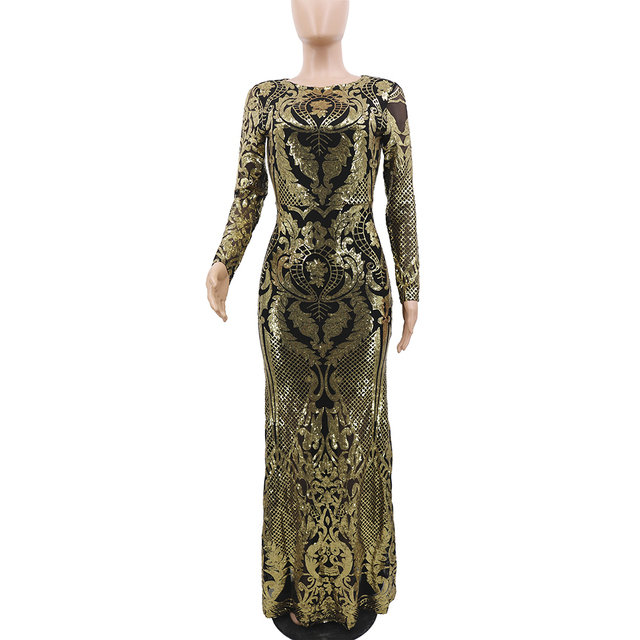 African Ladies Sequins Party Dress Long Sleeve Luxury Golden Glitter Sexy Mesh Bodycon Women Evening Dinner Plus Size Maxi Dress