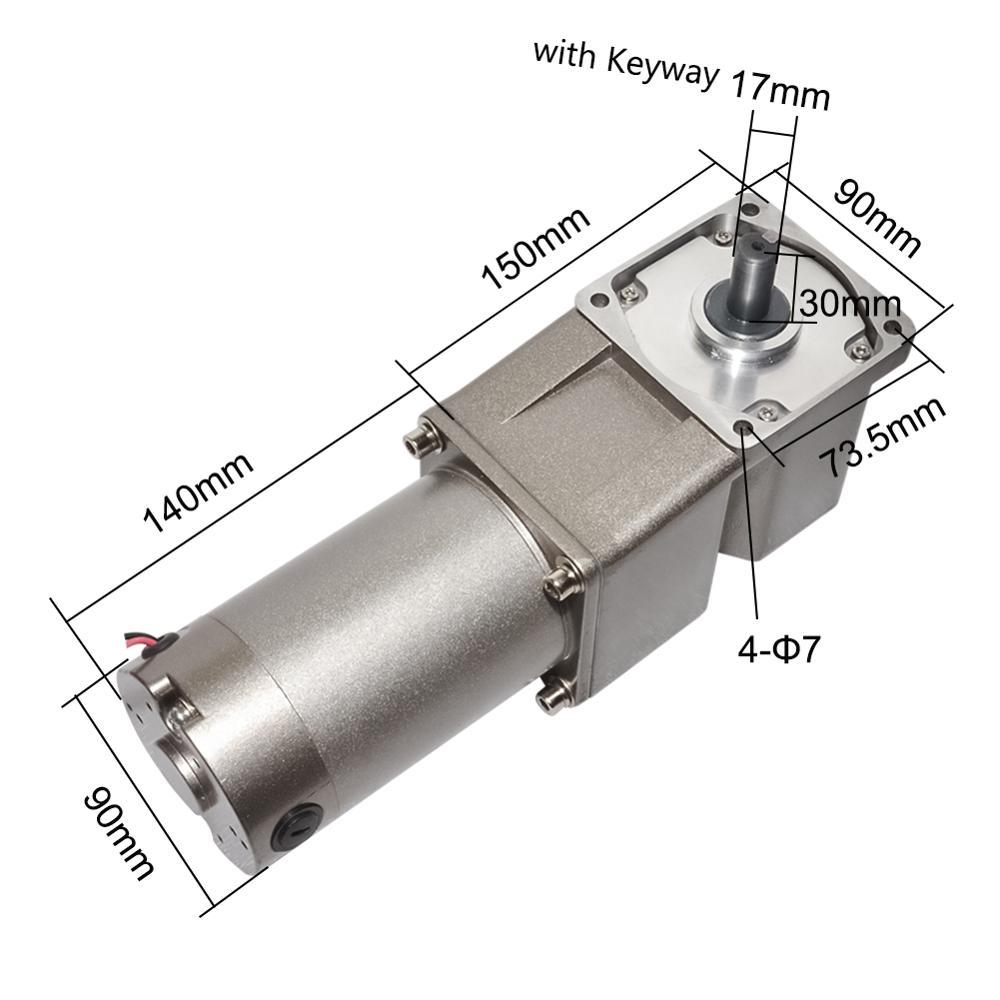 Motor alto 120 w da caixa de engrenagens da c.c. 12 v 24 v 90 v do motor da engrenagem de cw ccw do torque com velocidade do ângulo direito da cabeça da engrenagem de 5 gura 3-300rpm opcional