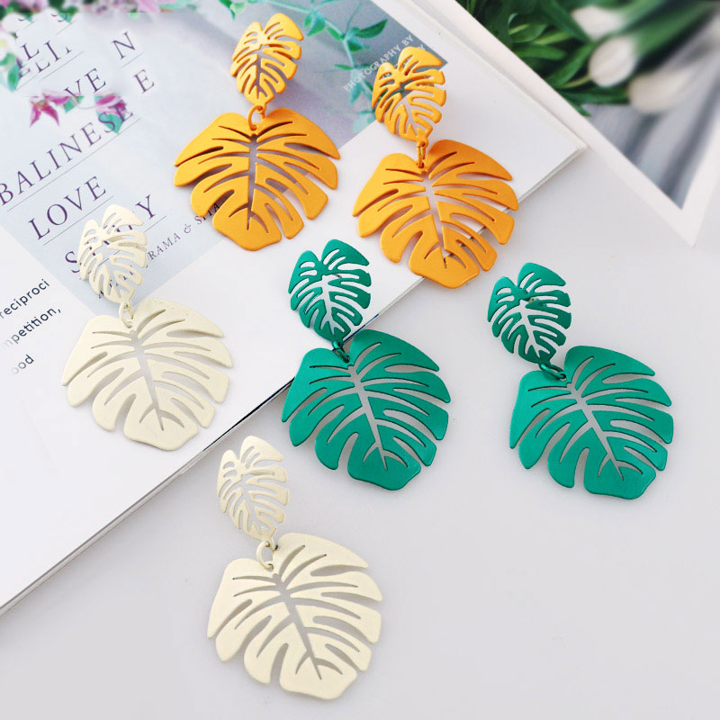 Statement Big Leaf Drop Earrings 2019 for Women Fashion Vintage Geometric Yellow Green