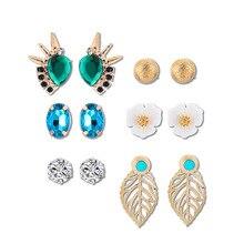 Design Vintage Eye Shape Stud Earrings for Women Earings Fashion Jewelry Flowers Crystal Earrings Set Rhinestone Pearl Earrings