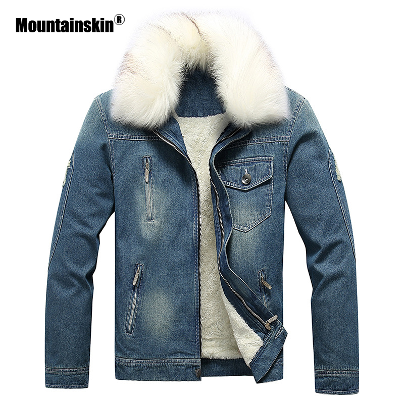 Mountainskin Winter Men's Thick Denim Jacket New Fashion Mens Fur Collar Jacket Windproof Cowboy Coat Male Brand Clothing SA852