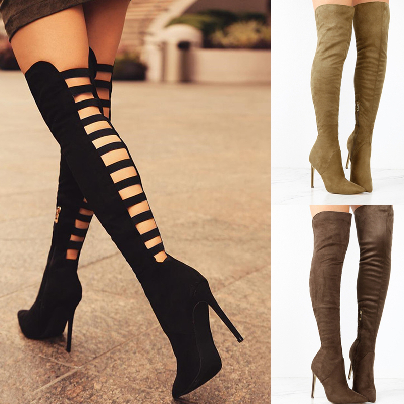 Sexy Black Women's Long Boots Women Autumn Heels Shoes Over The Knee Thigh High Heel Boots Female Woman Summer Stretch Boot 10cm