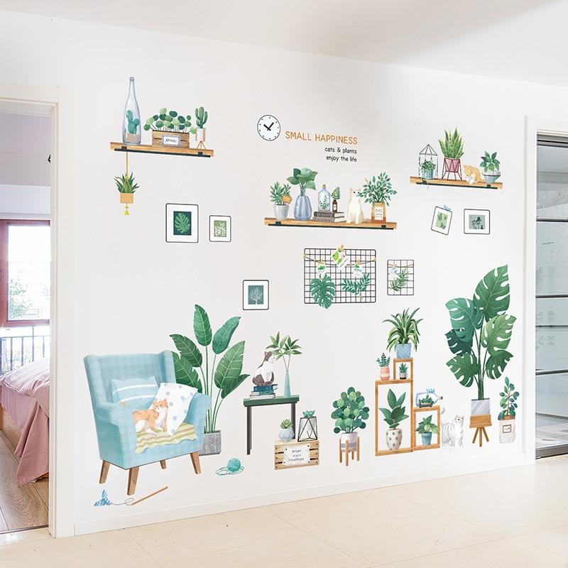 Большие размеры для всей стены планеты кошка настенные наклейки для гостиной спальни настенные наклейки уютное время DIY наклейки для детск...