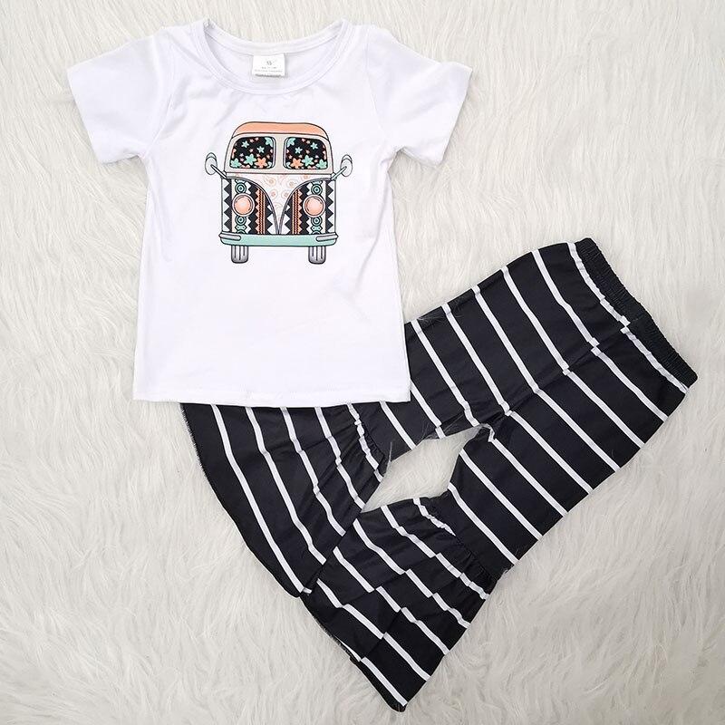 Summer Baby Girls Short Sleeve Print Striped Simplicity T-Shirt + Big Bell Pants Children 2Pieces Set Kids Clothing Girls' Cloth