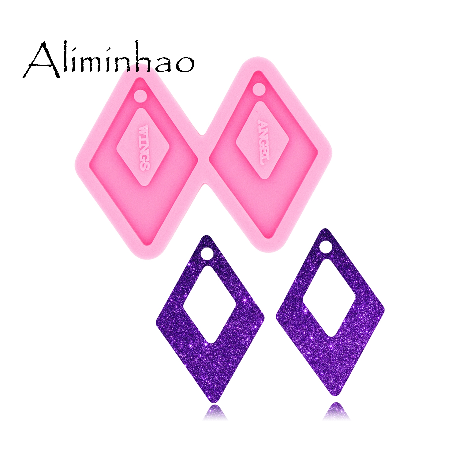 DY0508 L/M/S Shiny Square Shape DIY Epoxy Earrings Fashion Jewelry Resin Craft Mould Silicone Molds