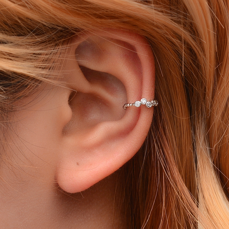 Simple And Sweet U-shaped Earrings With Diamonds Without Pierced Ear Clips Fashion Versatile Beads Ladies Ear Bone Clip