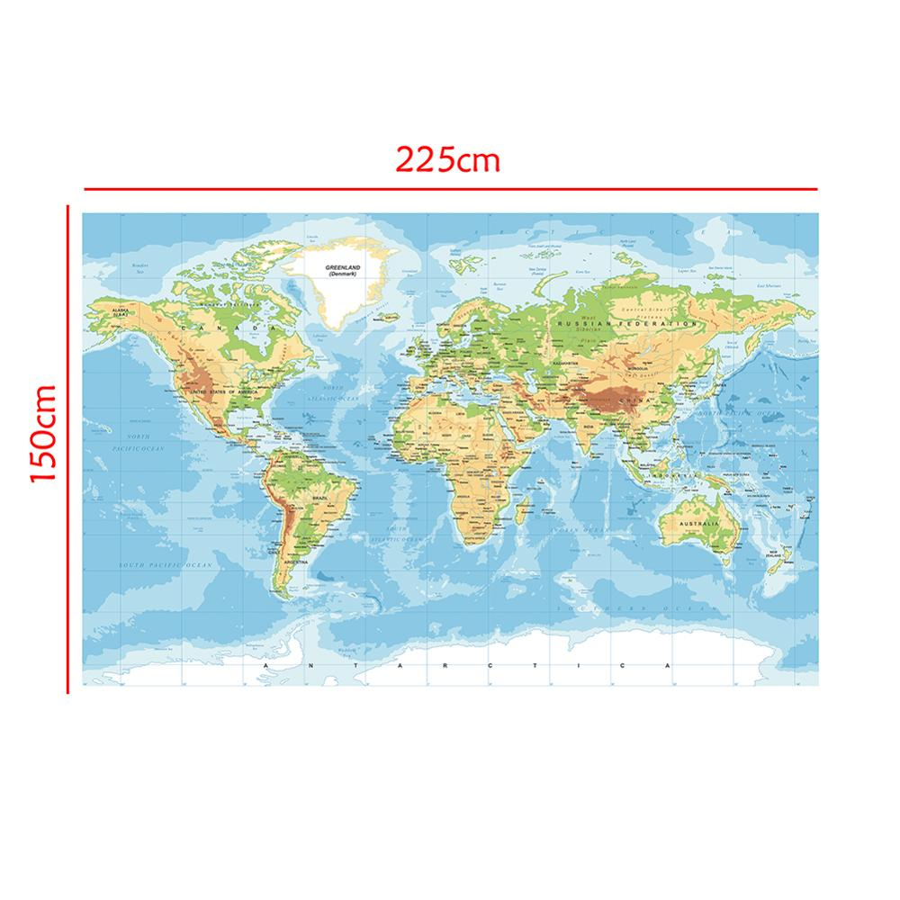 150x225cm The World Non-woven Map Mercator Projection Without National Flags For Education And Culture