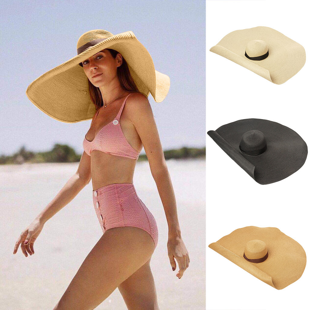 Summer Large Brim Straw Hat Floppy Wide Brim Sun Cap Bowknot Beach Foldable Hats New 2021 Sun Hat Uv Protect Hat #Zer