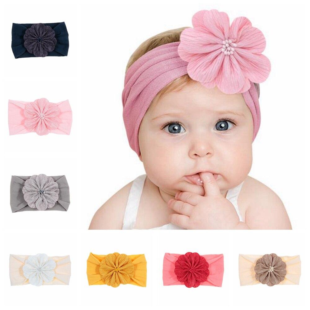 New Soft Newborn Toddler Flower Headwraps Cute Elastic Baby Girls Knot Nylon Turban Headband Photo Props Hair Accessories