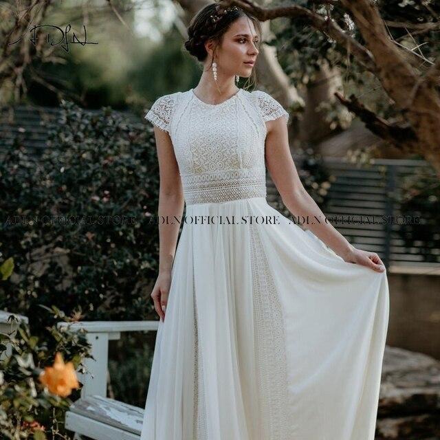 Exquisite Jewel Bohemian Wedding Dress Cap Sleeves Boho Lace Bride Dress Chiffon Beach Bridal Gown Customized 6
