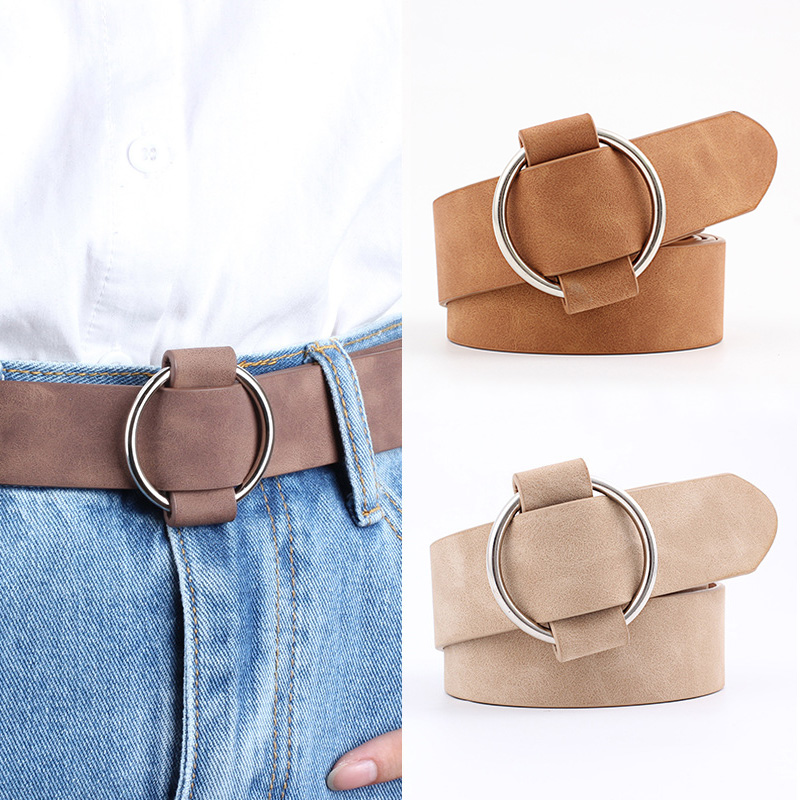 Women Leather Belt Fashion Round Metal Buckle Female Leisure Dress Jeans Wild Without Pin Strap All match Lady Adjustable Belts