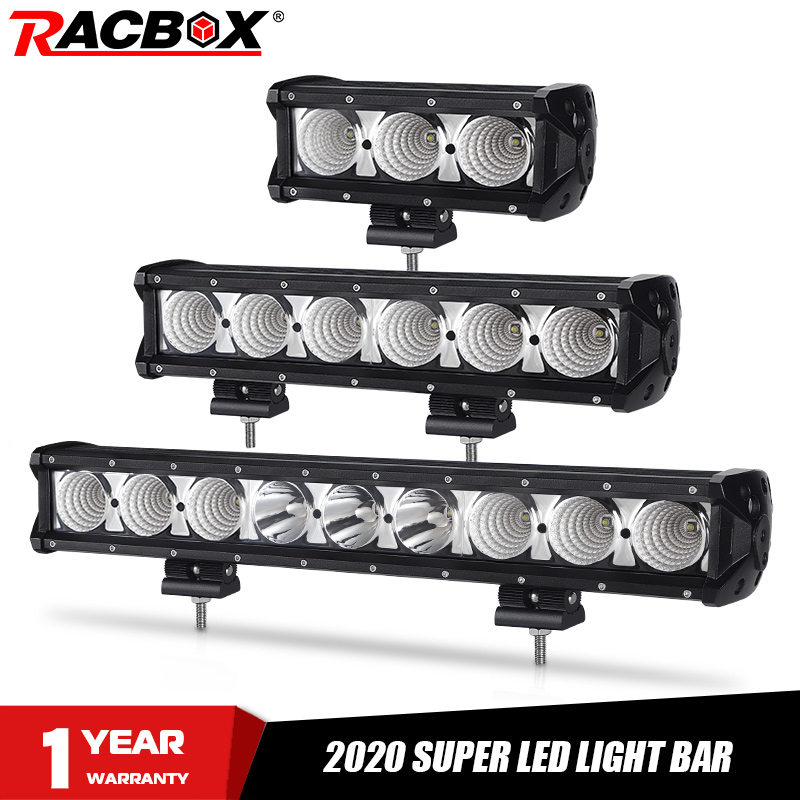 RACBOX 40 34 27 20 14 8 Inch Single Row Offroad Led Work Light Bar For Off Road Truck SUV ATV 12V 24V Trailer Car External Light
