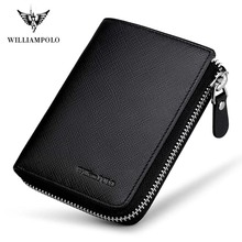 WILLIAMPOLO Brand Fashion Zipper Mini Wallet Genuine Leather Men Short Purse With Coin Pocket Cowhide Money
