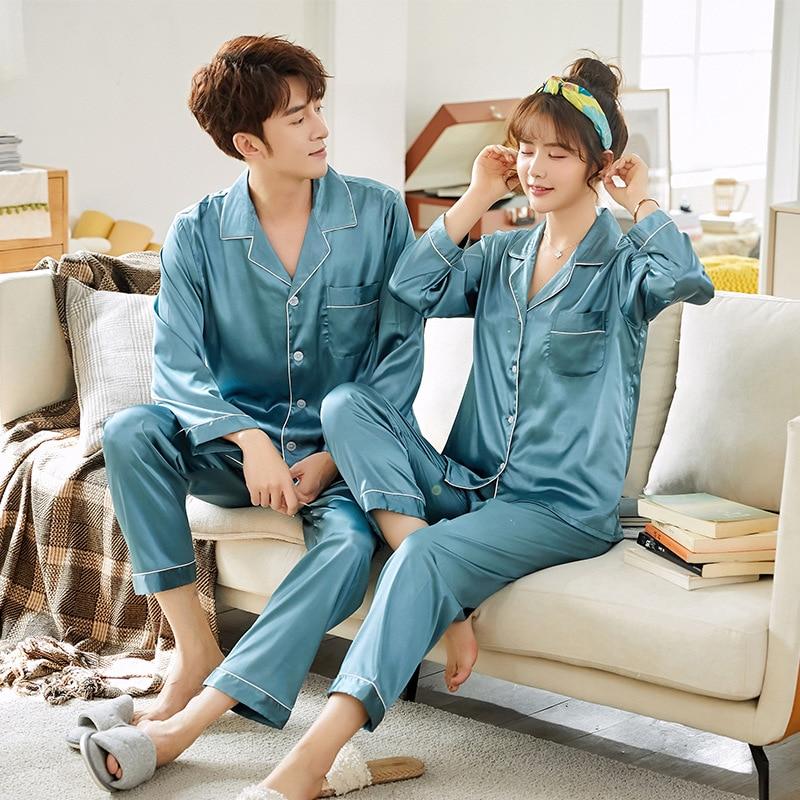 Large Size 3XL Spring Autumn Pajamas Imitation Lovers Sleepwear Long Sleeve Wedding Nightwear Men's Women's Suits Housewear