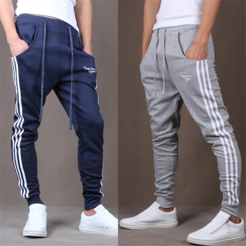 2019 New Fashion Tracksuit Bottoms Mens Casual Pants Cotton Sweatpants Mens Joggers Striped Track Pants Gyms Clothing #1007