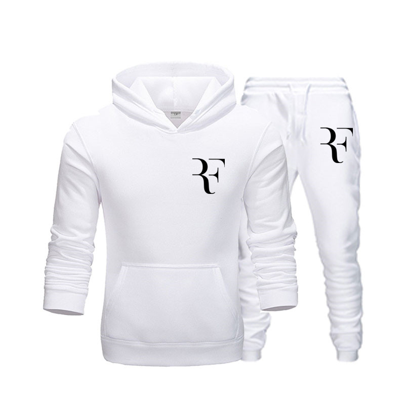 Men's New RF Printing Fleece Thickening Hoodies Spring And Autumn Winter Long-sleeved Hooded Men's Brand Clothing + Pants Suit