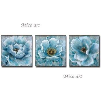 Pure Handmade Modern 3 Panel Lotus Flower Oil Painting Canvas Wall Art Unframed Artwork Showpieces For Home Decoration Artwork