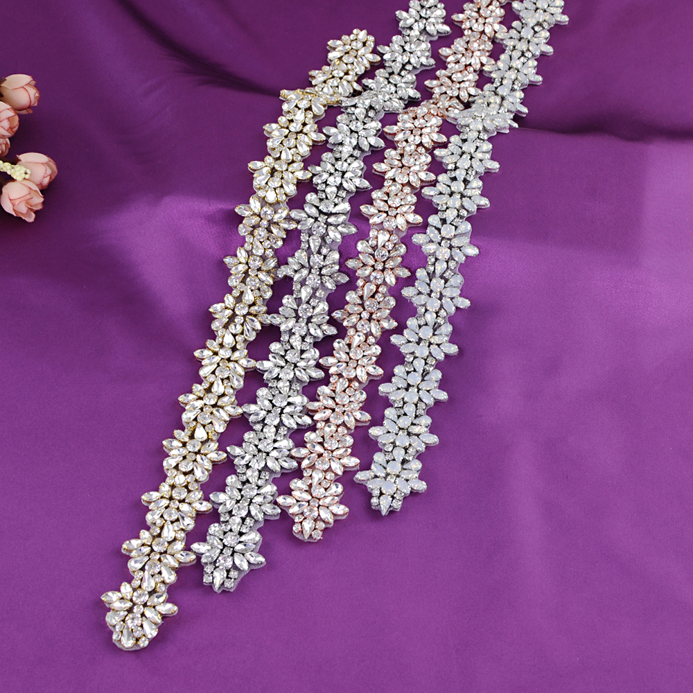 TOPQUEEN (1pc) Bridal Wedding Silver Rhinestone Applique Belt Rose Gold Crystal Beaded Applique Iron On For Wedding Dresses S269