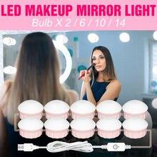 Светодиодный макияж лампа 2 6 10 14 лампы зеркальный светильник