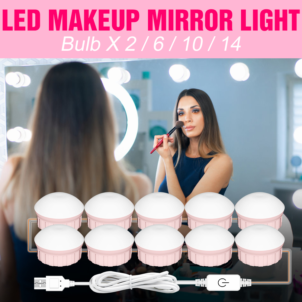 LED Makeup Lamp 2 6 10 14 Bulbs Mirror Light Cosmetic Room USB Kit Vanity Lamps LED Touch Dimmable B