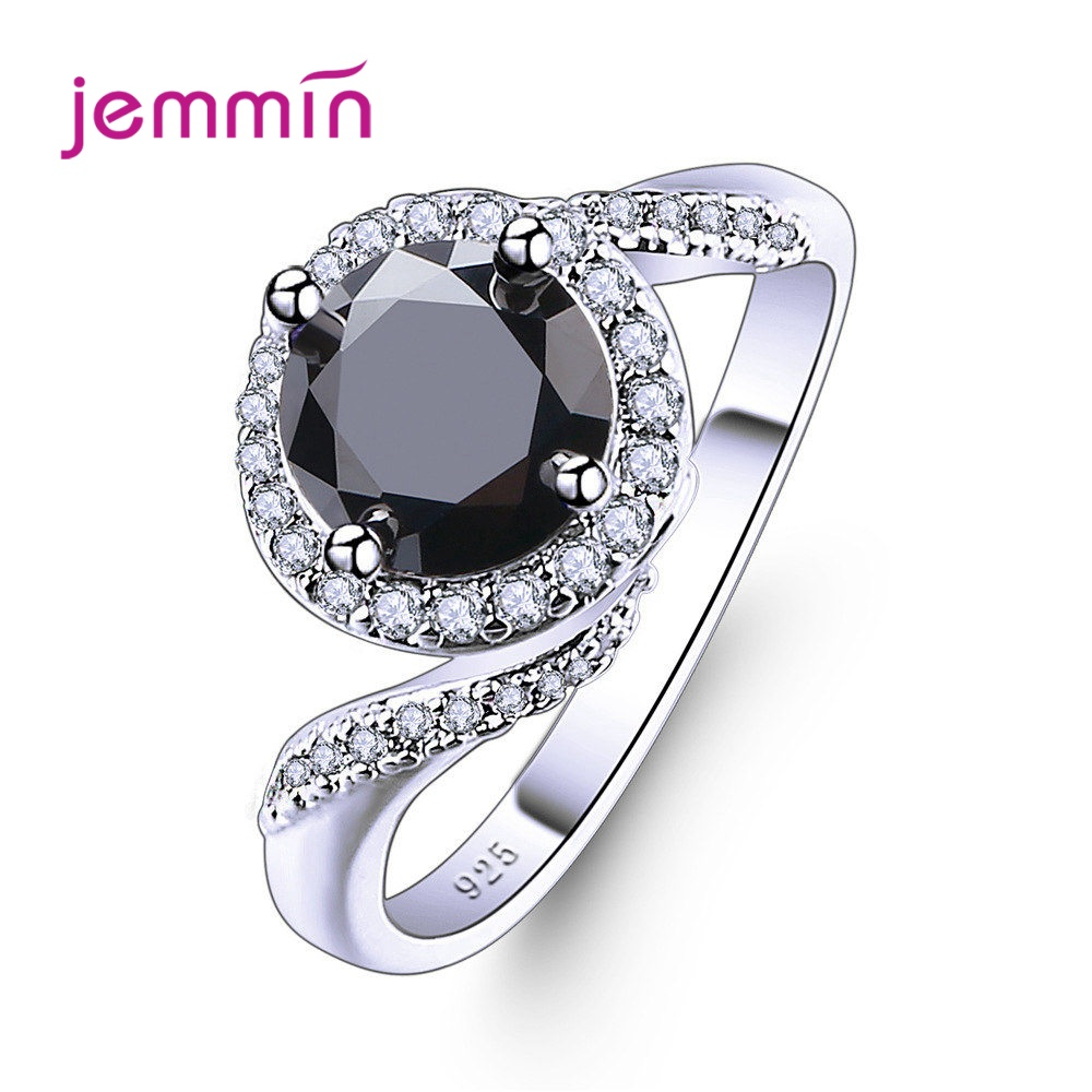 Pure 925 Sterling Ring Jewelry Made With Clear Blue/Black Stones From Austria Hot Fashion Wedding Party Finger Rings Wholesale