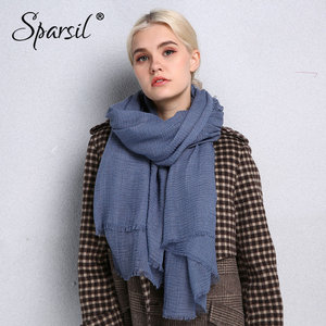 Image 1 - Sparsil Spring New Cotton Women Scarf Solid Color Crumple Retro Scarves With Short Tassels 180cm Big Shawls Muslim Female Hijabs
