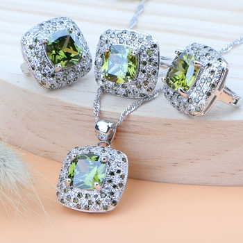 925 Sterling Silver Wedding Jewelry Sets Earrings For Women Luxury Costume Jewelry Bracelet Rings Bridal Pendant Necklace Set