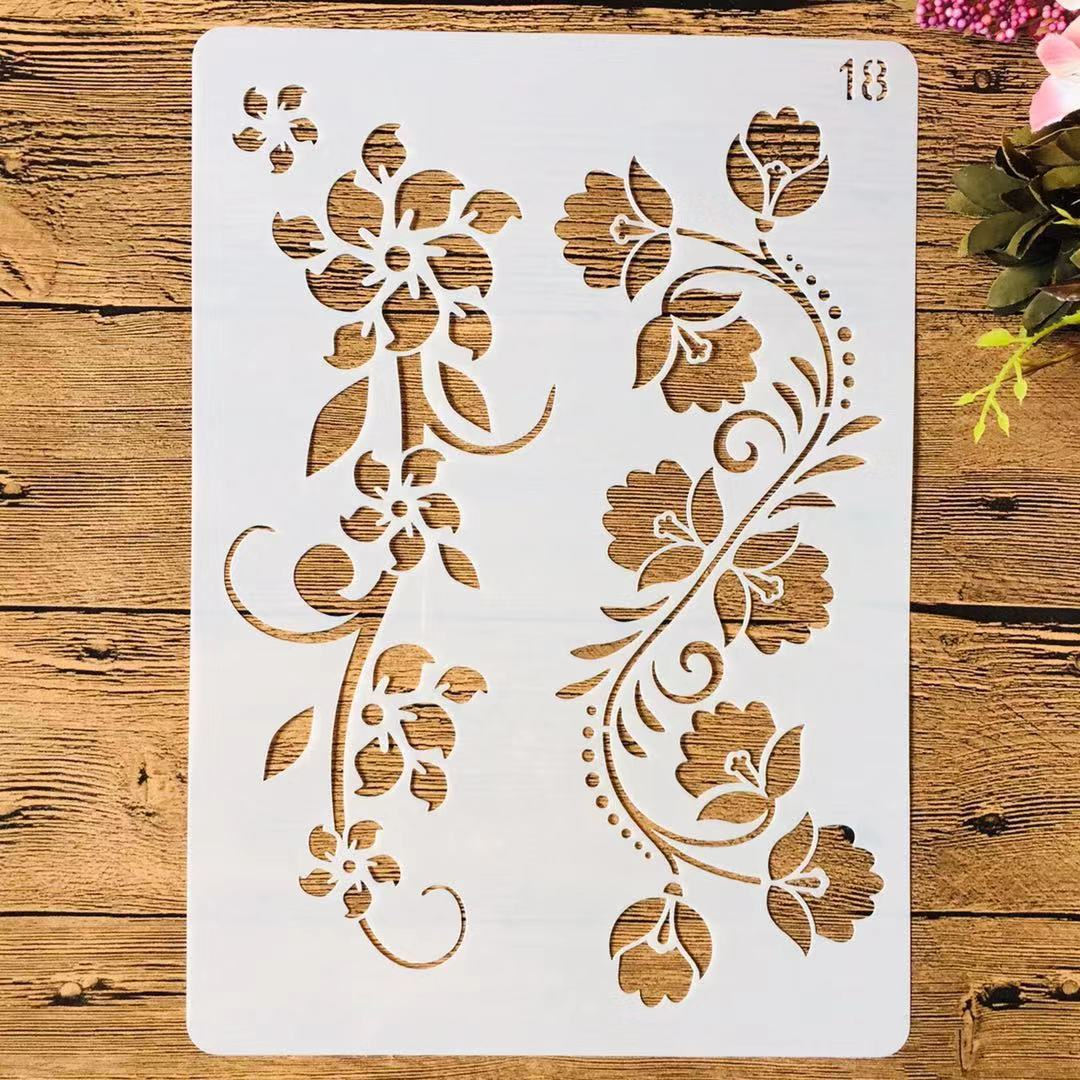 A4 29cm Flower Leaves Ivy DIY Layering Stencils Painting Scrapbook Coloring Embossing Album Decorative Template
