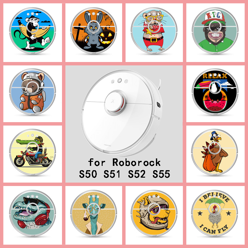 Provide Customized Custom Animal Sticker For Roborock S50 S51 S52 S55 Robot Robotic Vacuum Cleaner Skin Spare Parts Accessories