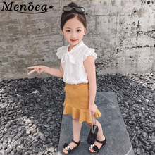 цена на Menoea Girls Clothing Sets 2017 New Summer Rose Print Dress+ Coat 2Pcs Suit Brand Kids Clothes European and American Style 3-8Y