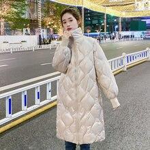 Winter Women Cotton Padded Coat Casual Stand Neck Lightweight Loose Zipper Cotton Jackets Female Casual Argyle Long Warm Outwear
