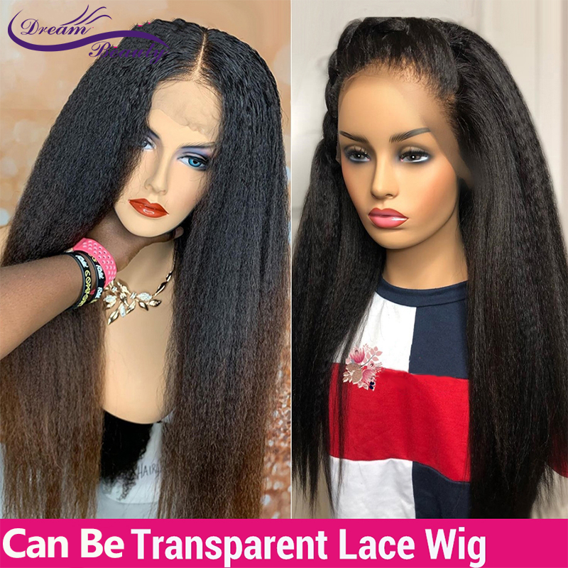 Ombre Kinky Straight Lace Front Human Hair Wigs 150% Density  Natural Color 13X4 Lace Front Wig Preplucked Dream Beauty