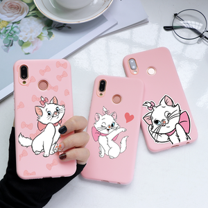 Cartoon Pink Cat Print Phone Case For Huawei P40 P30 P20 Mate 30 20 Pro Honor 8X 10 20 Lite 10i 20i PSmart 2019 Soft Matte Cover(China)