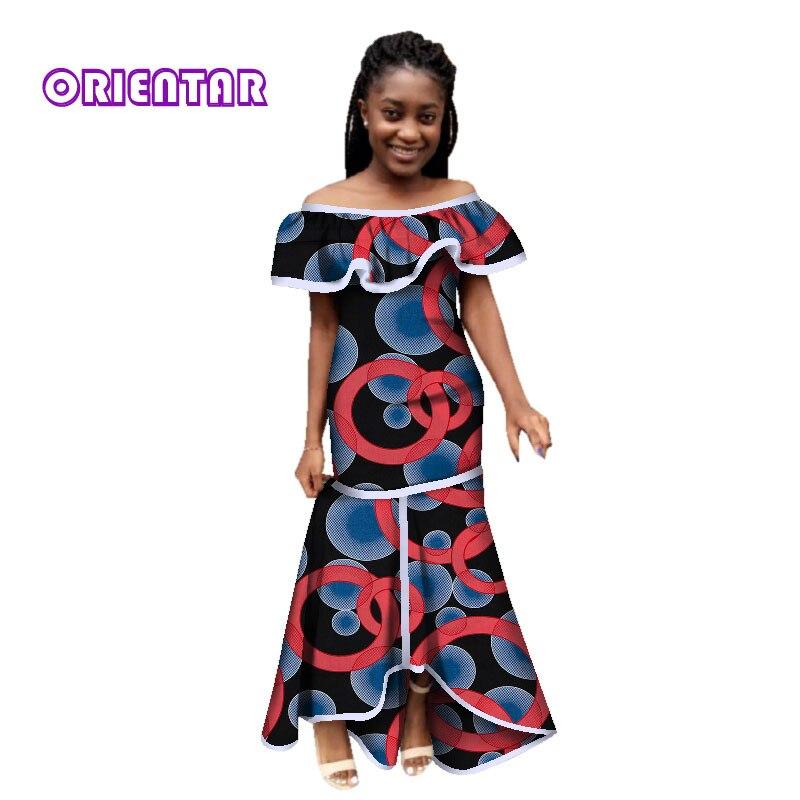 Fashion Women African Clothes Dress African Print Slash Neck Long Maxi Dresses For Women Bazin Riche Ankara Dresses WY2781
