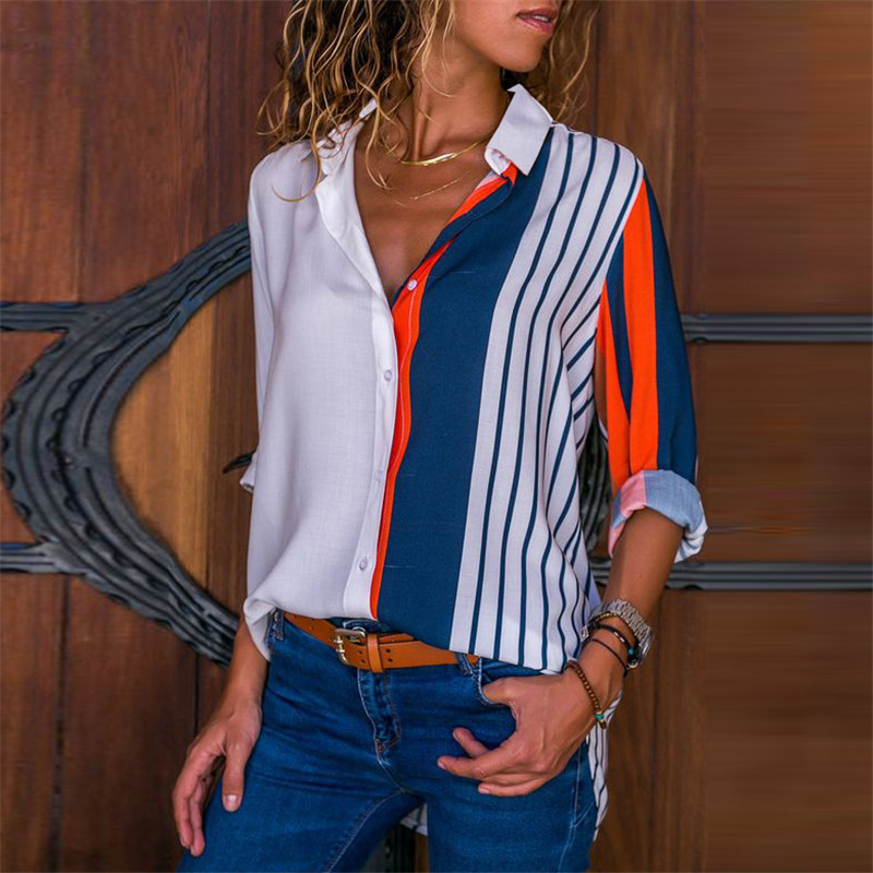 Women Blouses Chic Striped Print Office Shirt 2019 Fashion Long Sleeve Chiffon Blouse Casual Ladies Plus Size Female Shirts