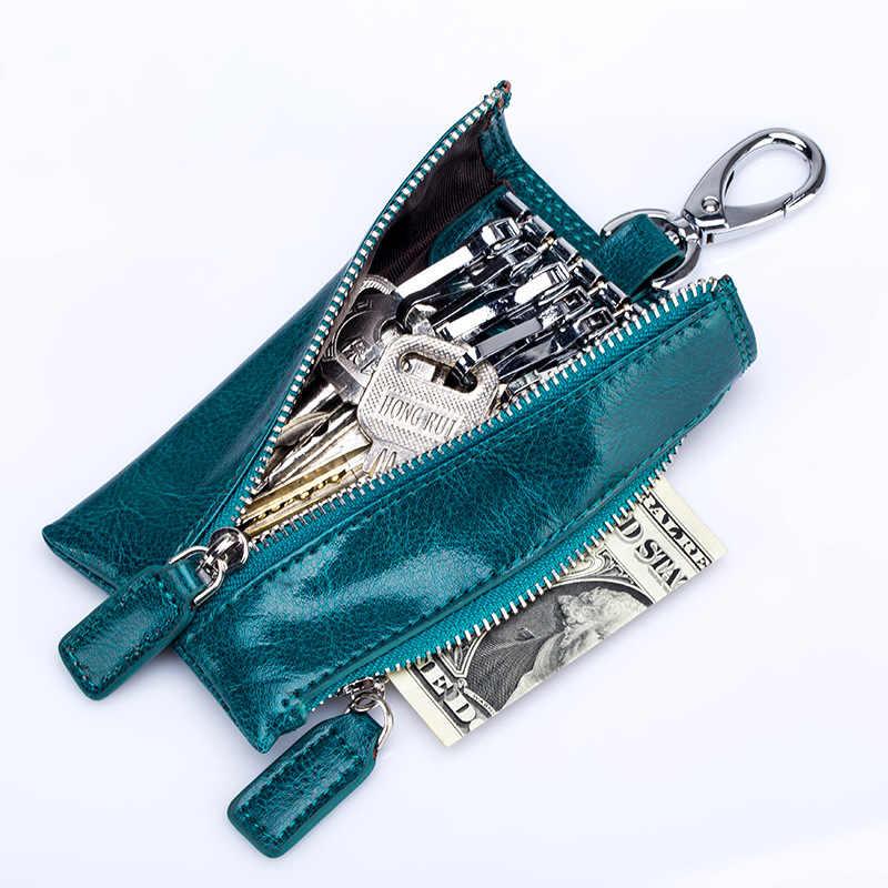 עור אמיתי מפתח ארנק נשים Keychain מכסה רוכסן מפתח Case תיק חדש גברים מפתח מחזיק סוכנת בית מפתחות ארגונית פאוץ ארנק