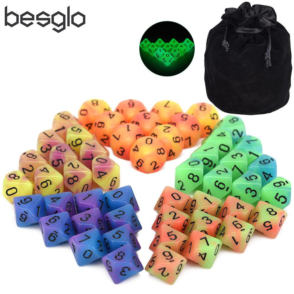 50pcs D10 Dice Glow In The Drak With Dice Pouch For Tabletop RPG World Of Darkness Vampire